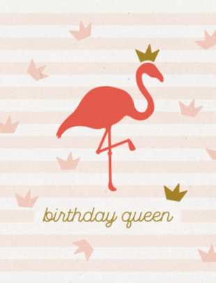 """Leuke Kaartjes Leuke Kaartjes """"Birthday Queen Flamingo"""""""