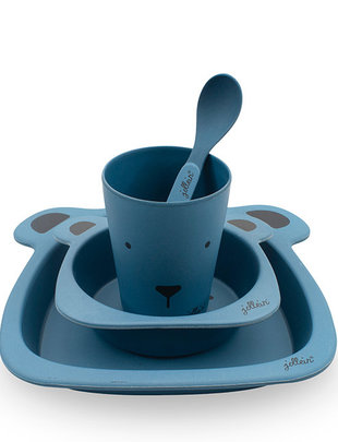 Jollein Jollein Dinerset Animal Club Bamboo Steel Blue