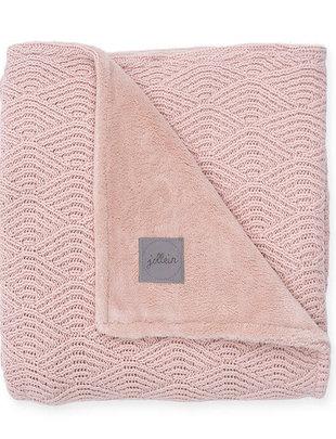 Jollein Jollein Deken River Knit 75x100 Pale Pink/Coral Fleece