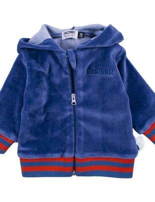 Zero2Three Zero2three Vest Sweater Met Kap In Fluweel Blauw