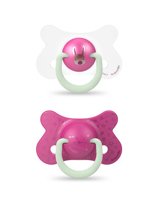 Suavinex Suavinex Fospspeen Basic  Phys.  Silicone Speen +18m Night & Day Rabbit Pink