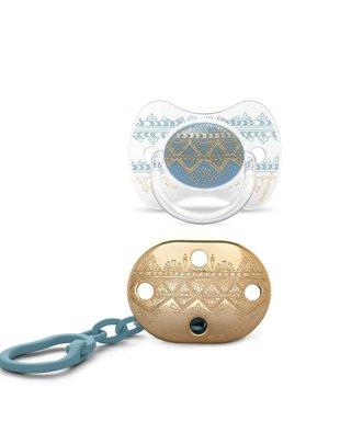 Suavinex Suavinex Fopspeen Couture Silicone Speen Phys. 4-18m  + Speenketting Light Blue