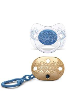 Suavinex Suavinex Fopspeen Couture Silicone Speen Phys. 4-18m  + Speenketting Dark Blue