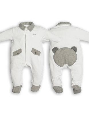 First First Pyjama Chevron Jersey White/Grey Teddybear