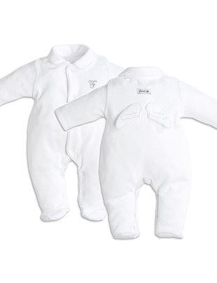 First First Pyjama Wit Fluweel Met Engel Vleugels