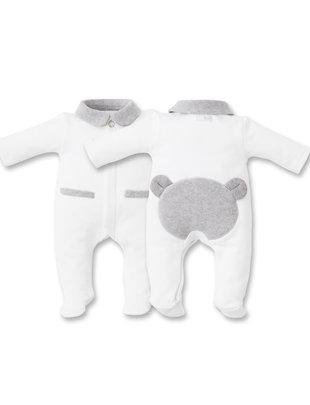 First First Pyjama Bjorn Jersey White/Grey Teddybear