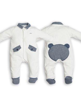 First First Pyjama Chevron Wit Met Teddybeer Denim