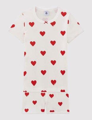 Petit Bateau Petit Bateau Pyjama Met Shortje Hartjes