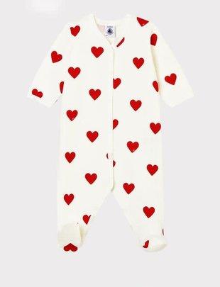 Petit Bateau Petit Bateau Pyjama Rode Hartjes in Molleton