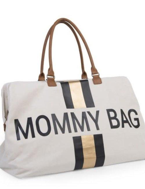 Childhome Childhome Mommy Bag Verzorgingstas - Ecru Strepen Zwart/Goud