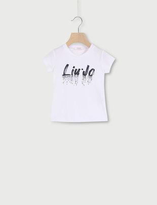 Liu Jo Liu Jo T-shirt Girls Logo White Liu Jo Strass