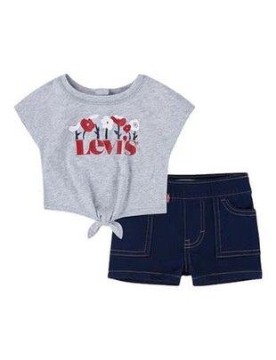 Levi's Levi's Setje Girls T-shirt & Shortje Light Gray Heather