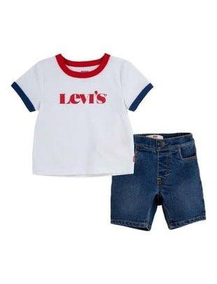 Levi's Levi's Setje Boys T-shirt & Shortje White