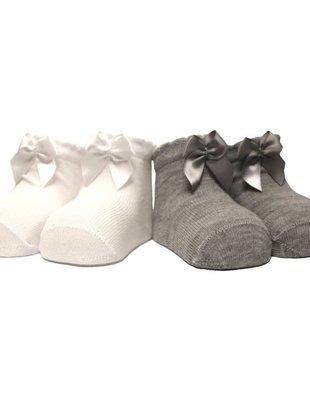 In Control In Control kousen Set Van 2 Satin Bow  White/Grey  Newborn