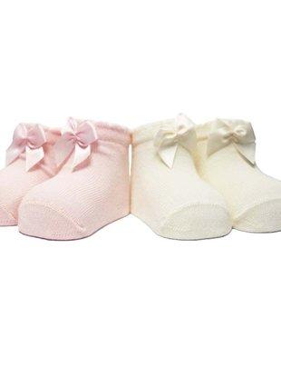 In Control In Control kousen Set Van 2 Satin Bow White/Pink Newborn