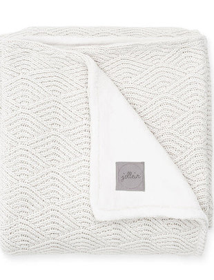 Jollein Jollein Deken River Knit 75x100 Cream White/Coral Fleece