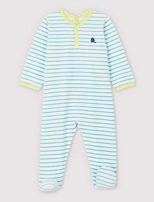 Petit Bateau Petit Bateau Pyjama Unisex Gestreept Fluweel