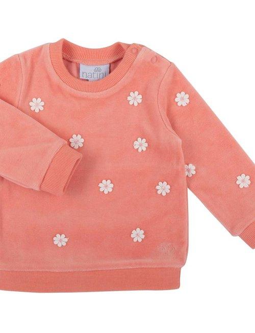 Natini Natini Sweater Girls Flower Coral Pink