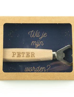 Minimou Minimou Flessenopener 'Wil je mijn Peter Worden?'
