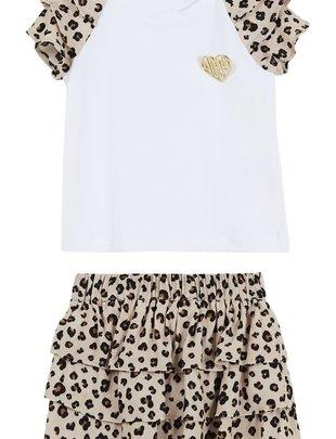 Liu Jo Liu Jo Setje Girls T-shirt & Rokje Leopard