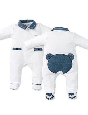 First First Pyjama Orso Jersey White/ Denim Teddybear