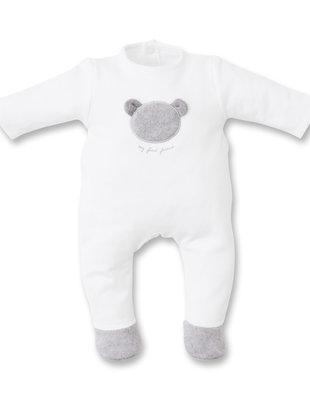 First First Pyjama Jersey White/Grey Teddybear