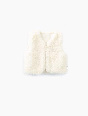 IKKS IKKS Bodywarmer Girls Omkeerbaar Faux Fur Ecru