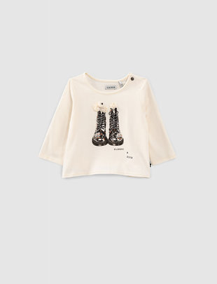 IKKS IKKS T-shirt Girls 'Rock & Roll' Ecru