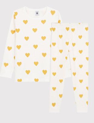 Petit Bateau Petit Bateau Pyjama 2-delig met gele hartjesprint