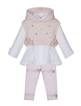 Lapin House Lapin House Set Witte Blouse, Leggin & Roze Pull