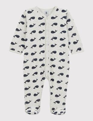 Petit Bateau Petit Bateau Pyjama Grijs met Blauwe Visjes