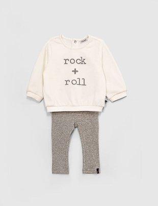 IKKS IKKS Girls Setje Ecru Pull & Legging Rock + Roll
