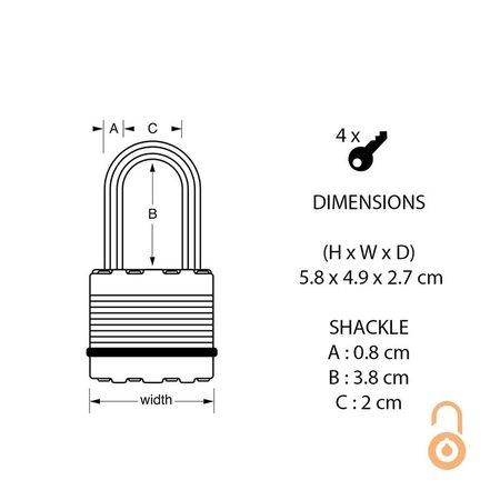 Masterlock 49mm breed Excell Hangslot Gelamineerd