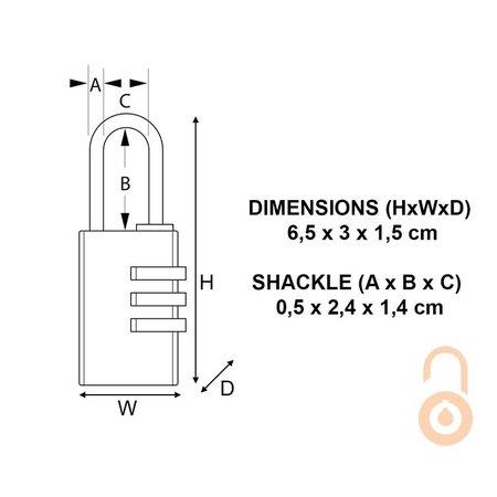 Masterlock Massief Cijferslot Messing 30mm