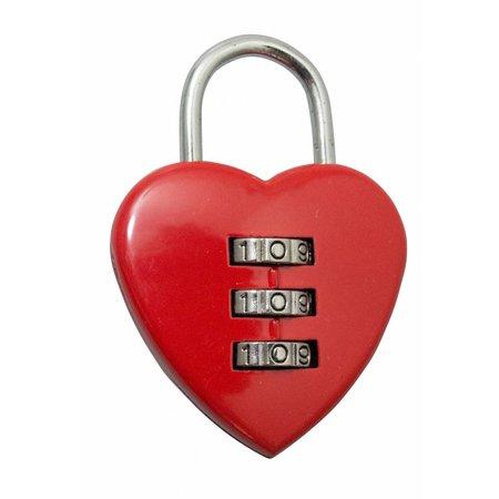 Cijferslot model hart - Rood