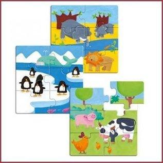 Djeco 3 houten puzzels Dieren
