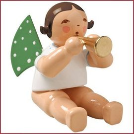 Wendt & Kühn Grunhainichense zittende Engel met fluit zonder sokkel