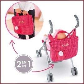 Corolle 2-in-1 buggy-verzorgingstas Cerise
