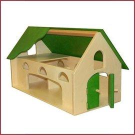 Van Dijk Toys Houten Boerderij  met groen dak en ruime speelopening