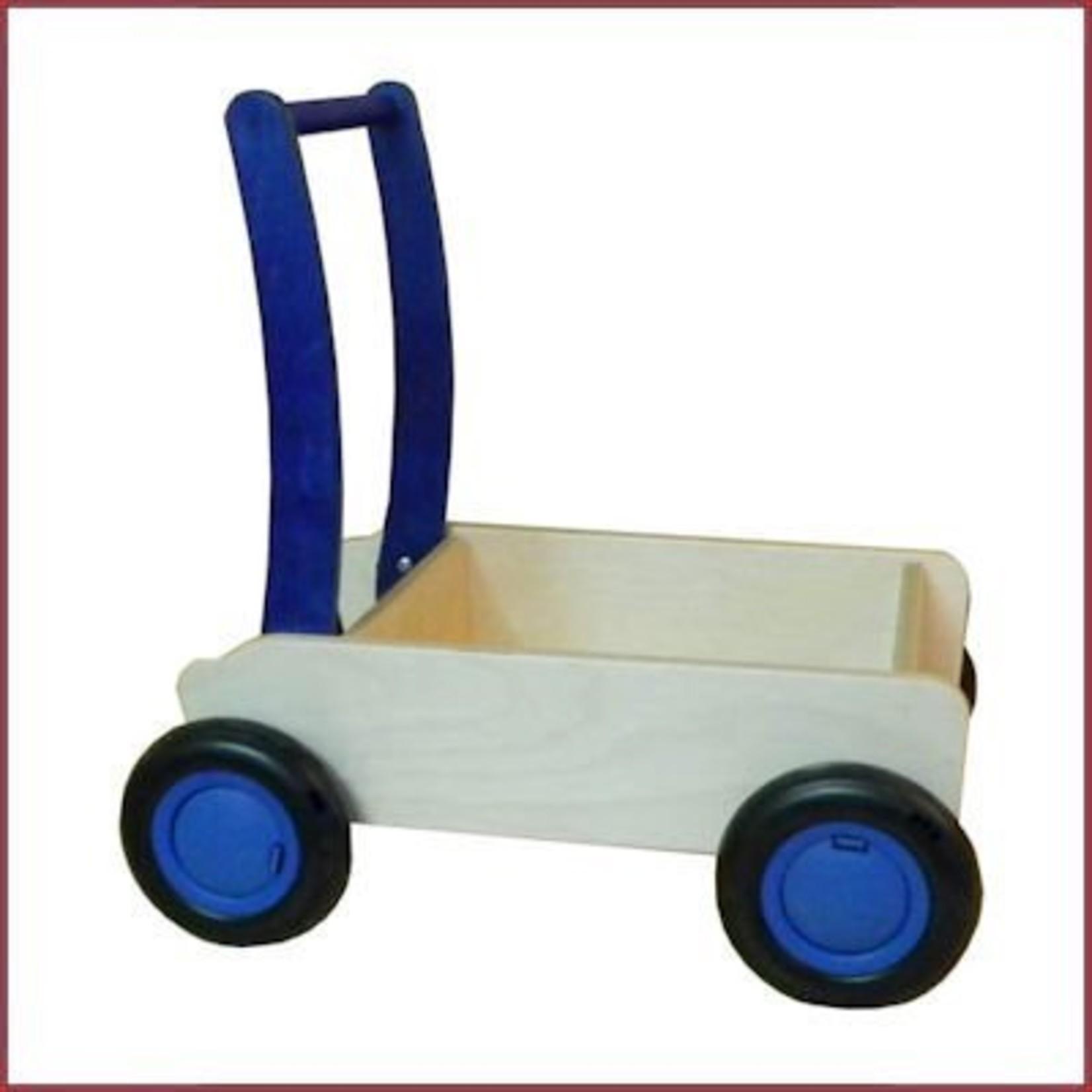 Van Dijk Toys Stoere Houten Loopwagen/duwkar Blauw