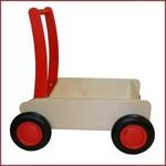 Van Dijk Toys Stoere Houten Loopwagen/duwkar - Rood