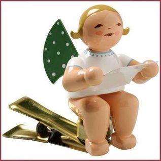 Wendt & Kühn Kerstboomknijpertje Grunhainichense Engel met muziekblad