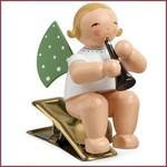 Wendt & Kühn Kerstboomknijpertje Grunhainichense Engel met klarinet