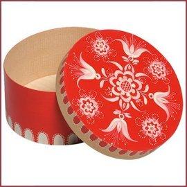 Wendt & Kühn Kleine handbeschilderde houten doos met bloemenmotief - rood