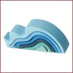 Grimm's Houten stapelblokken Watergolven - Klein