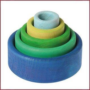 Grimm's Set gekleurde houten stapelbakjes - Oceaanblauw