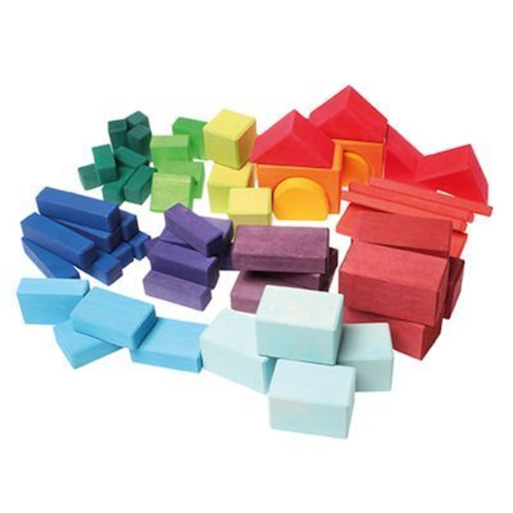 Grimm's Gekleurde geometrische houten blokken - 60-delig