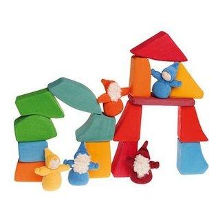 Grimm's 15 Gekleurde houten Waldorf blokken