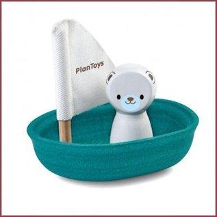 Plantoys Houten badspeeltje Zeilboot  IJsbeer