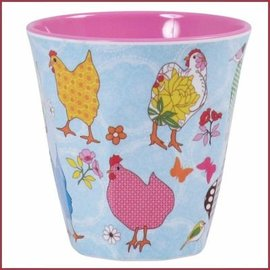 Rice Rice Cup Two Tone Medium - Hen Print